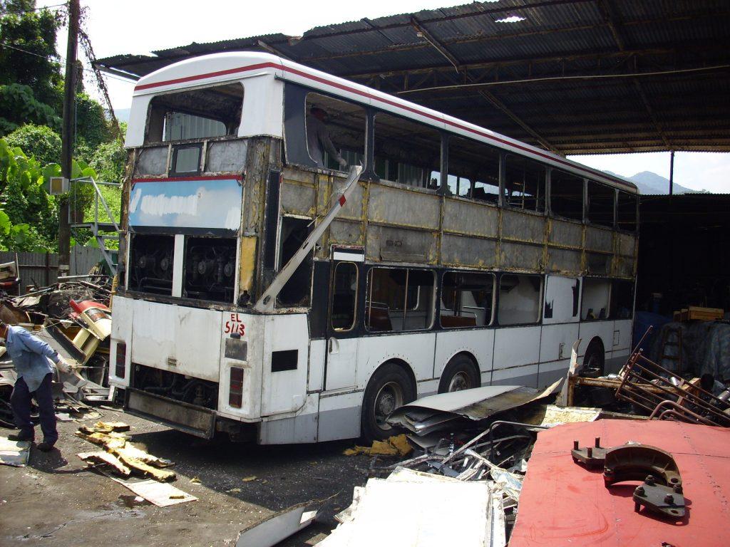 AD1在2007年退役後於10月被駕駛至錦田的廢車埸肢解。(Wilson Pang攝)