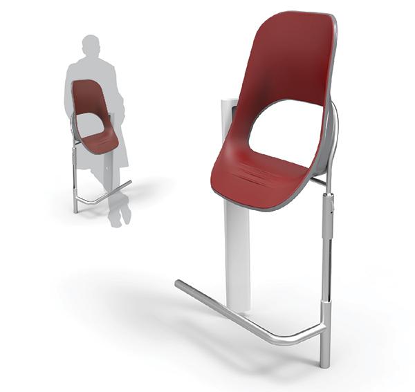 座椅以silicon(硅)為物料,並備有腳踏,舒適又能節省空間