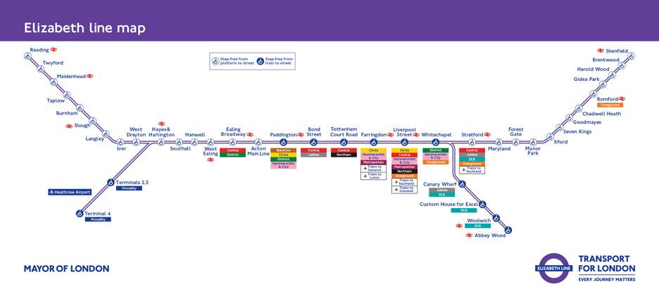 Johnston100字體由七月趗開始於倫敦運輸上試驗,原稱Cross Rail的新地鐵Elizabeth線將會首先採用。