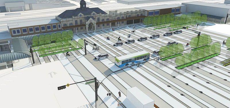 根據火車站前庭廣場的規劃,會採用大方簡約的線條設計。