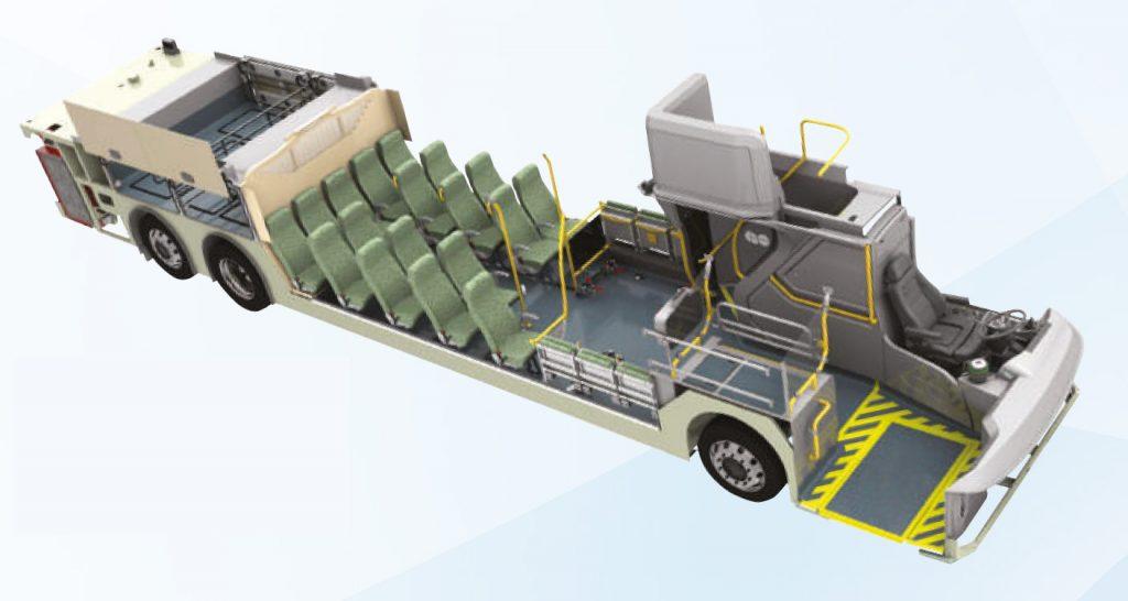 北美ADL Enviro500 下層設計,因應矮車身,尾軸上設有行李擺放空間