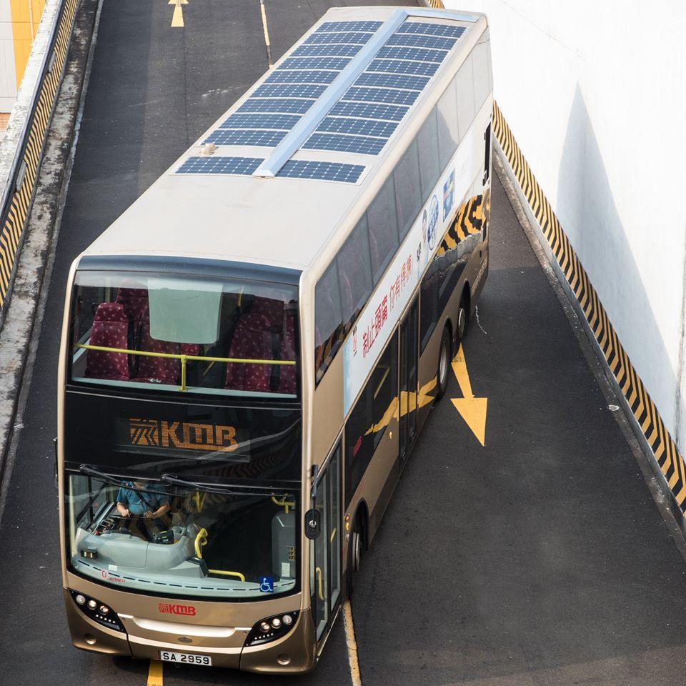 九巴於一部Enviro500車頂安裝太陽能電池板